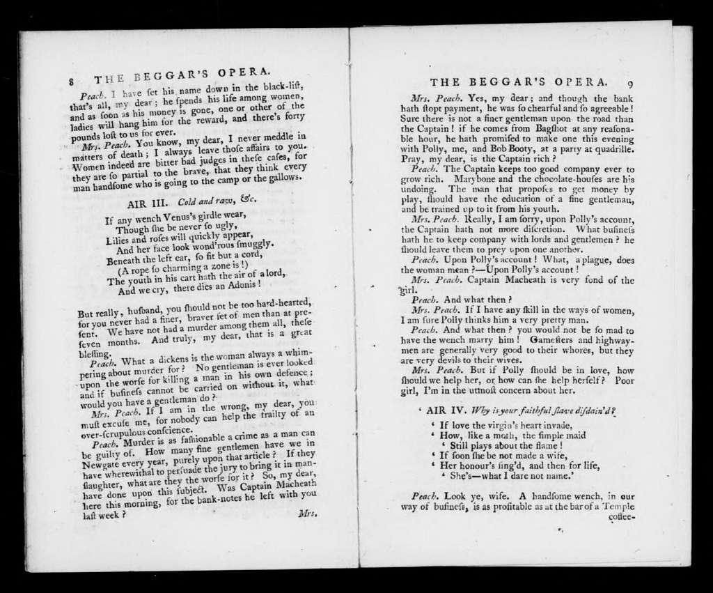 Beggar's opera. Libretto. English