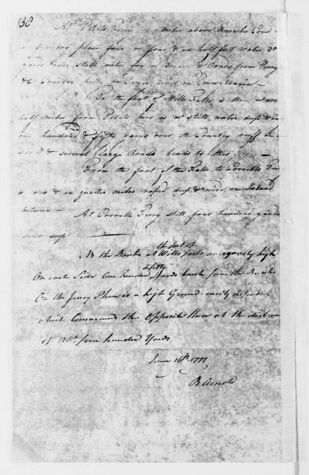 George Washington Papers, Series 4, General Correspondence: Benedict Arnold to George Washington, June 16, 1777, with Report