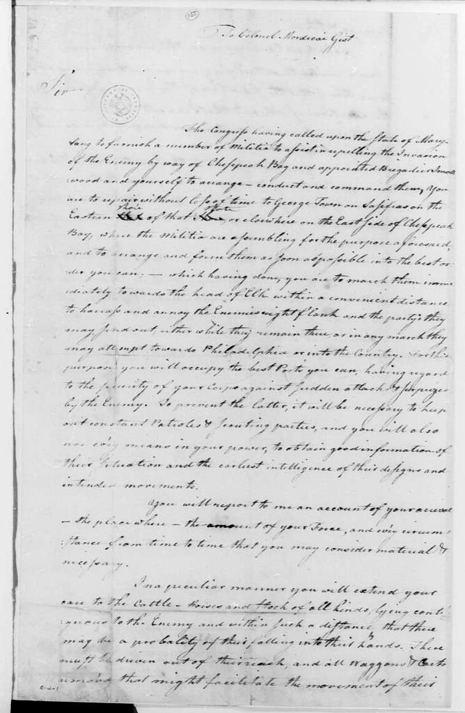 George Washington Papers, Series 4, General Correspondence: George Washington to Mordecai Gist, August 31, 1777, Instructions