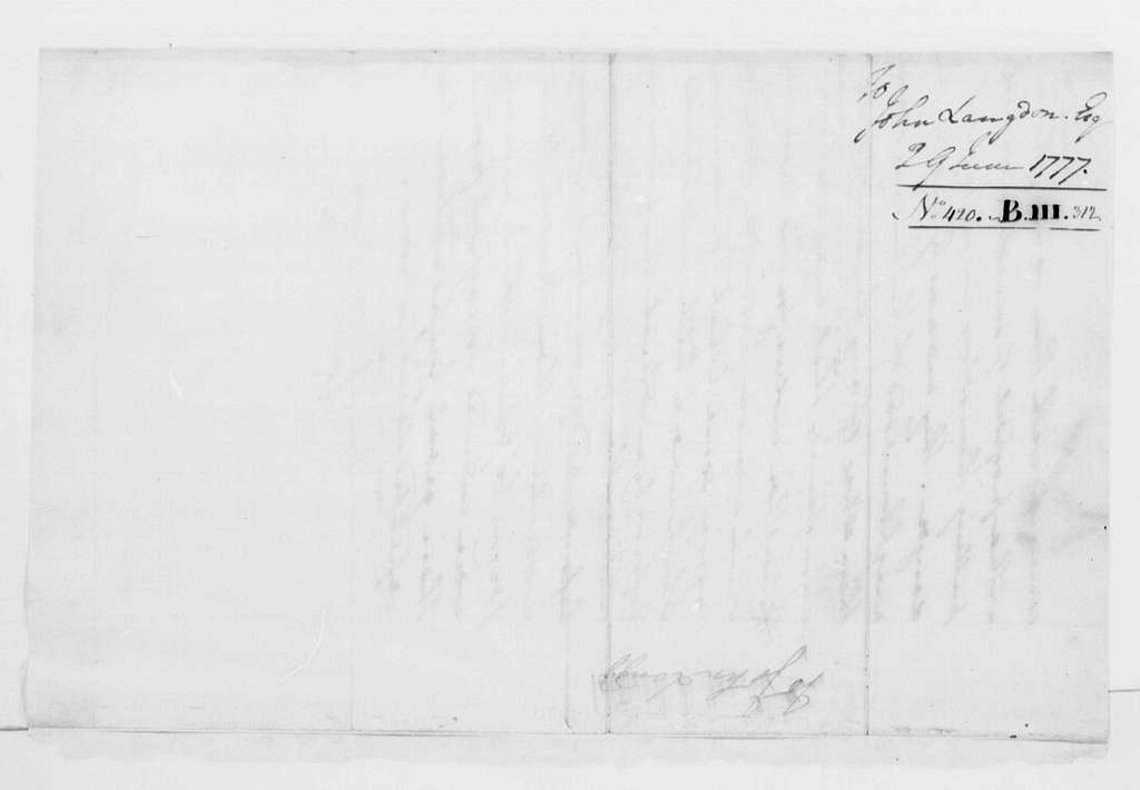 George Washington Papers, Series 4, General Correspondence: George Washington to John Langdon, June 29, 1777