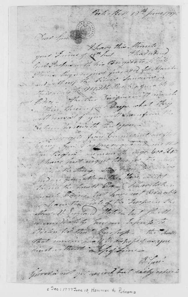 George Washington Papers, Series 4, General Correspondence: Israel Putnam to George Washington, June 13, 1777