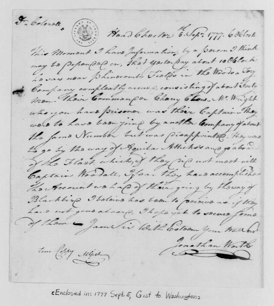 George Washington Papers, Series 4, General Correspondence: Jonathan Worth to Mordecai Gist, September 5, 1777