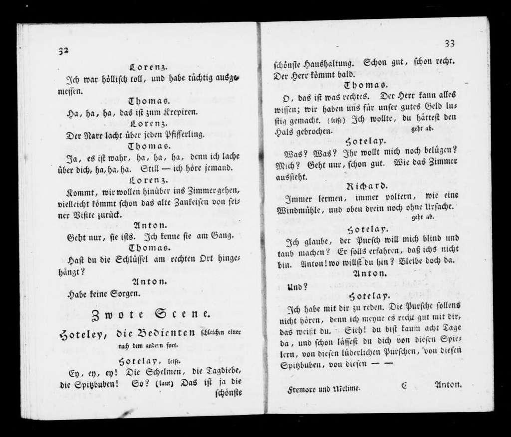 Fremor und Meline. Libretto. German