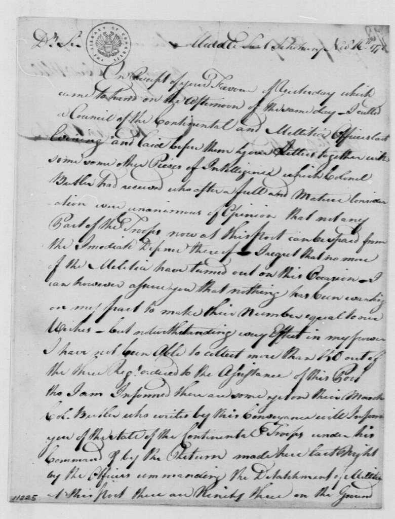 George Washington Papers, Series 4, General Correspondence: Abraham Ten Broeck to Edward Hand, November 16, 1778