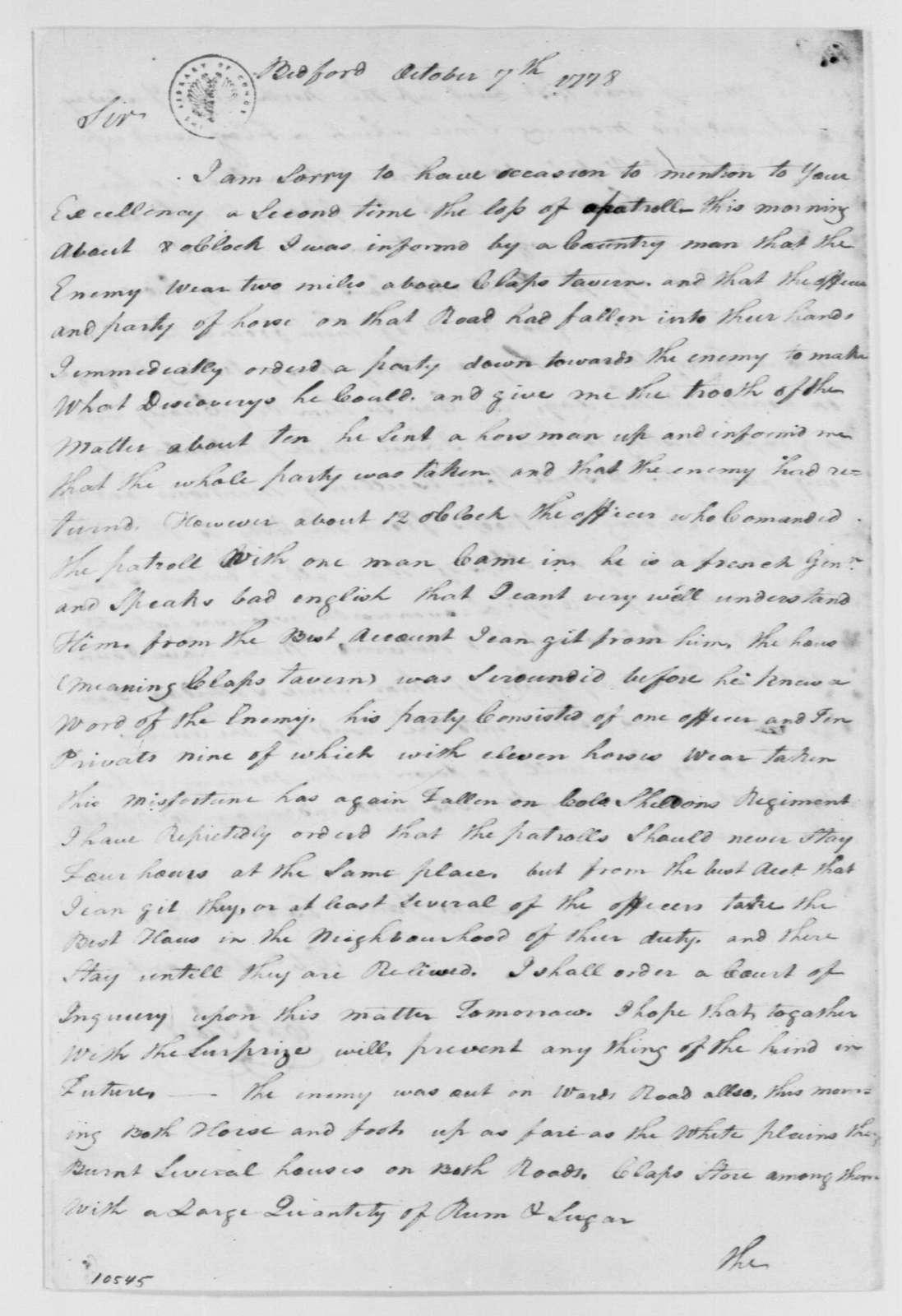 George Washington Papers, Series 4, General Correspondence: Charles Scott to George Washington, October 7, 1778