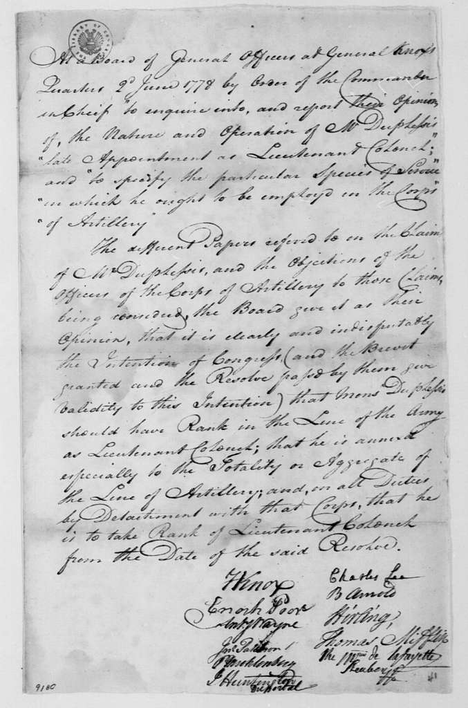 George Washington Papers, Series 4, General Correspondence: Continental Army General Officers Board to George Washington, June 2, 1778, with Report on Military Appointment of Mauduit du Plessis