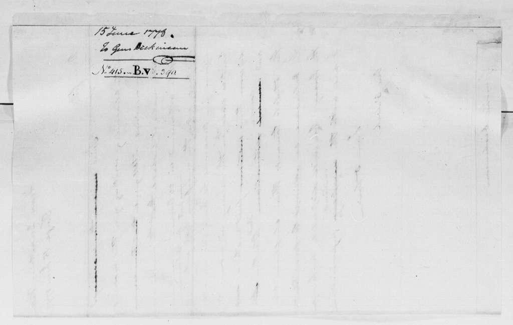 George Washington Papers, Series 4, General Correspondence: George Washington to Philemon Dickinson, June 15, 1778