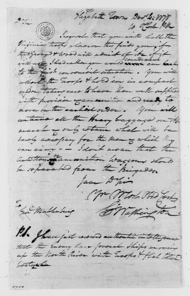 George Washington Papers, Series 4, General Correspondence: George Washington to Peter Muhlenberg, December 4, 1778