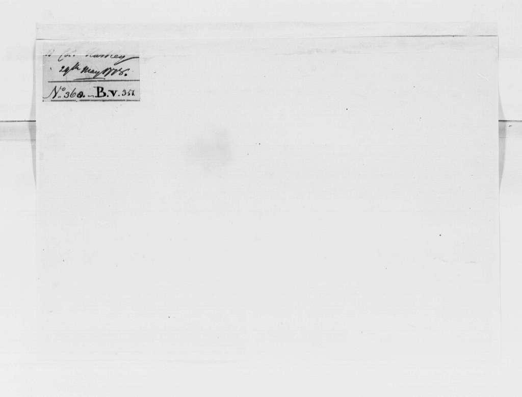 George Washington Papers, Series 4, General Correspondence: George Washington to Thomas Hartley, May 29, 1778