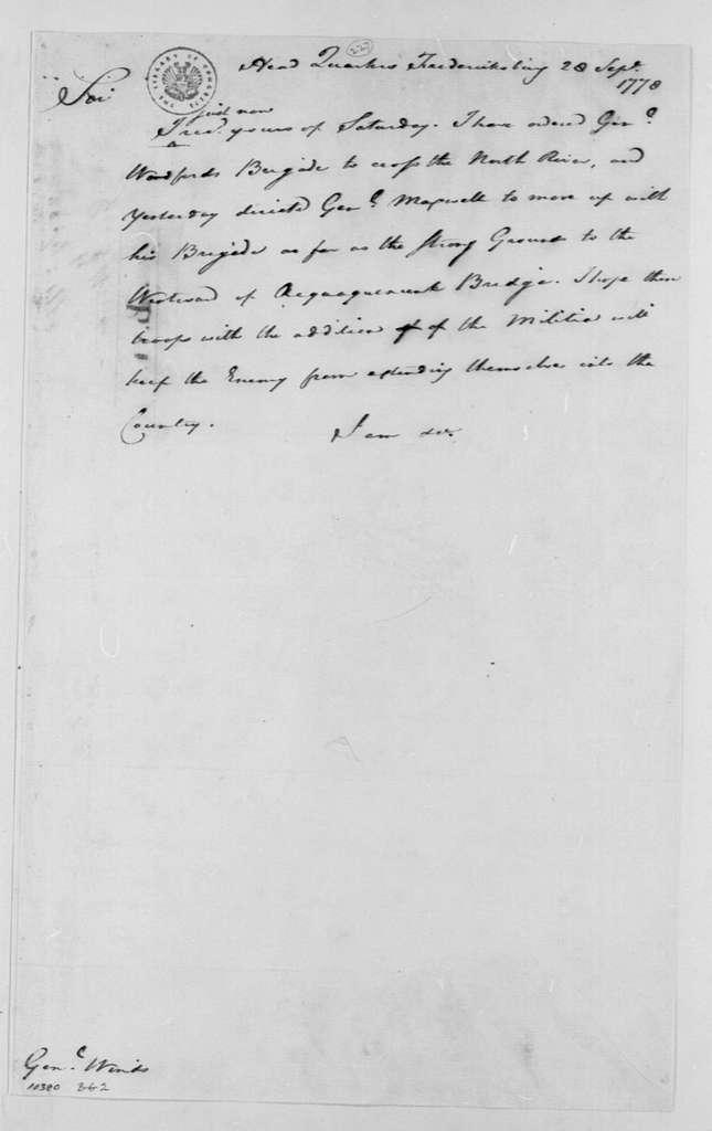 George Washington Papers, Series 4, General Correspondence: George Washington to William Winds, September 28, 1778