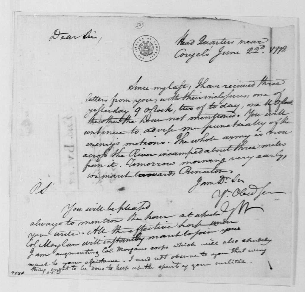 George Washington Papers, Series 4, General Correspondence: George Washington to Philemon Dickinson, June 22, 1778