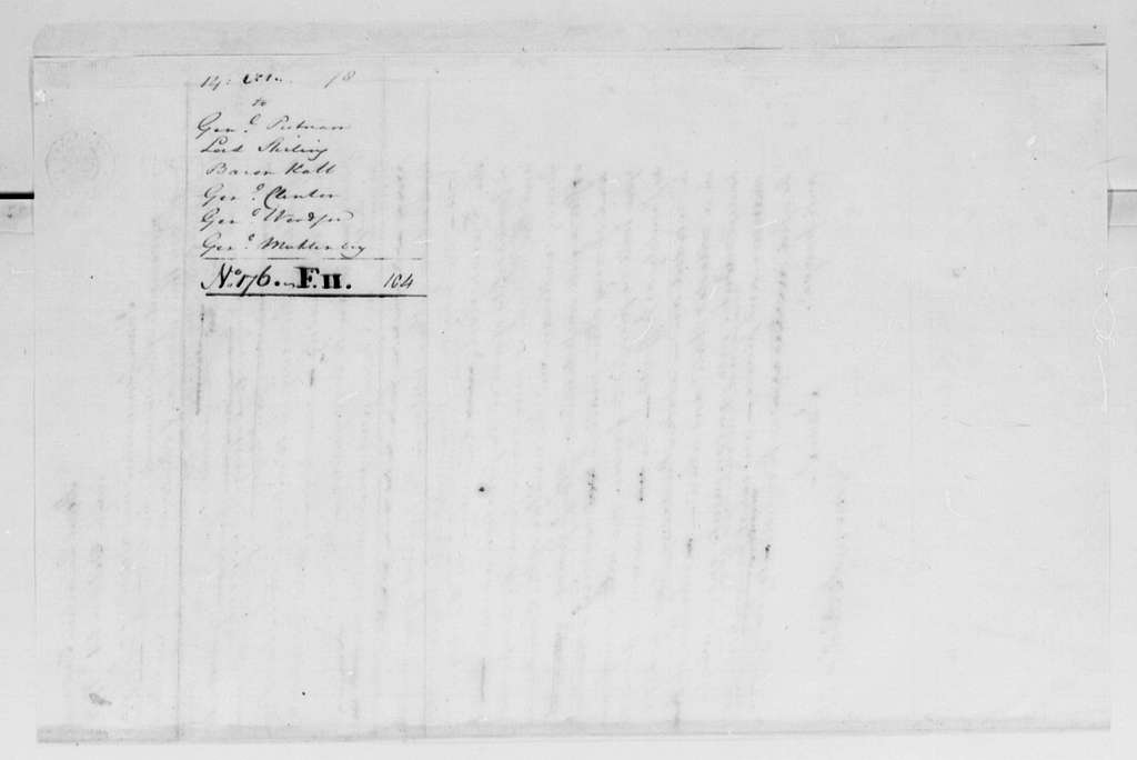 George Washington Papers, Series 4, General Correspondence: George Washington to Israel Putnam, et al, October 14, 1778, Circular Letter to Officers on Winter Cantonment