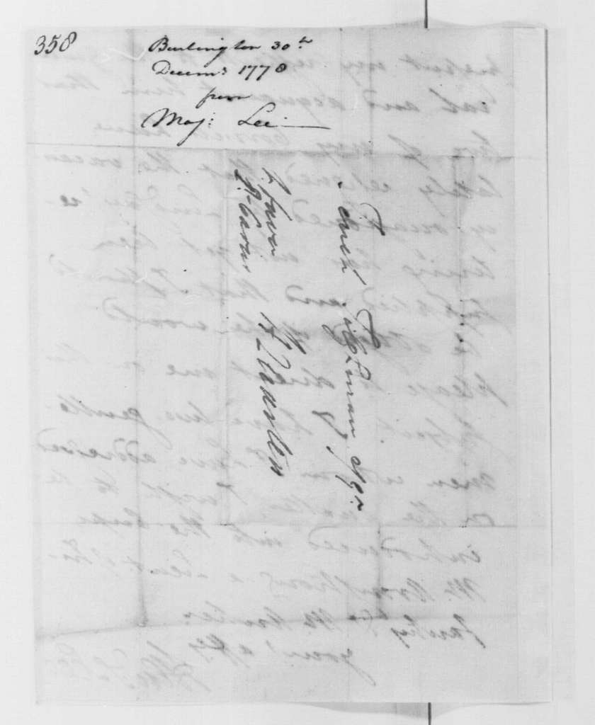 George Washington Papers, Series 4, General Correspondence: Henry Lee Jr. to Tench Tilghman, December 30, 1778
