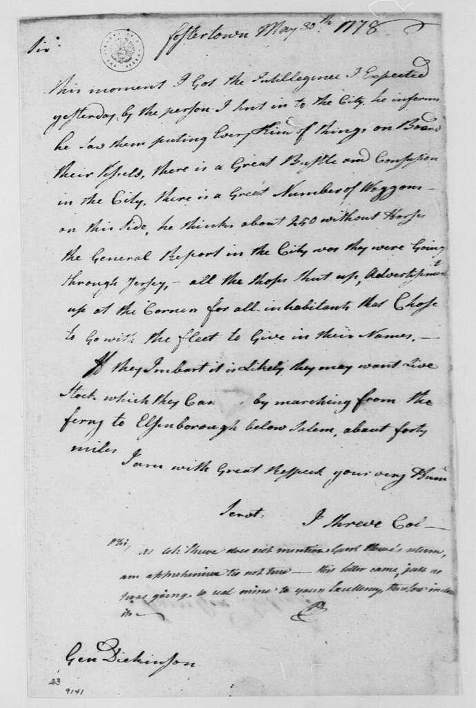 George Washington Papers, Series 4, General Correspondence: Israel Shreve to Philemon Dickinson, May 30, 1778, with Note from Dickinson to George Washington