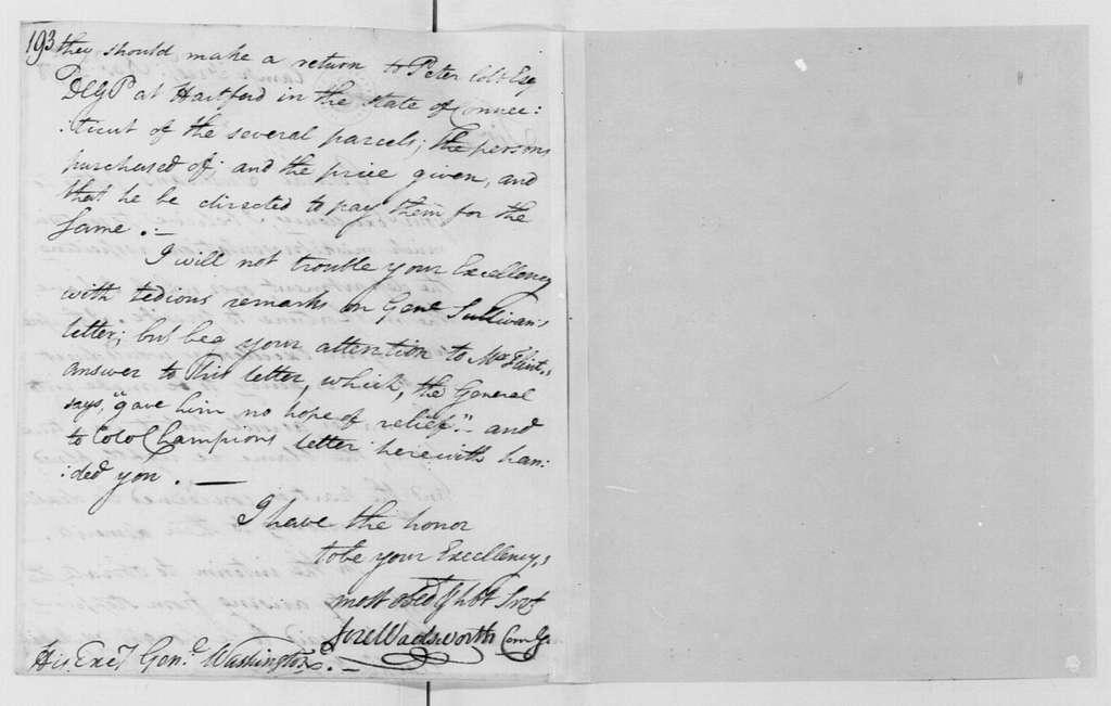 George Washington Papers, Series 4, General Correspondence: Jeremiah Wadsworth to George Washington, November 25, 1778