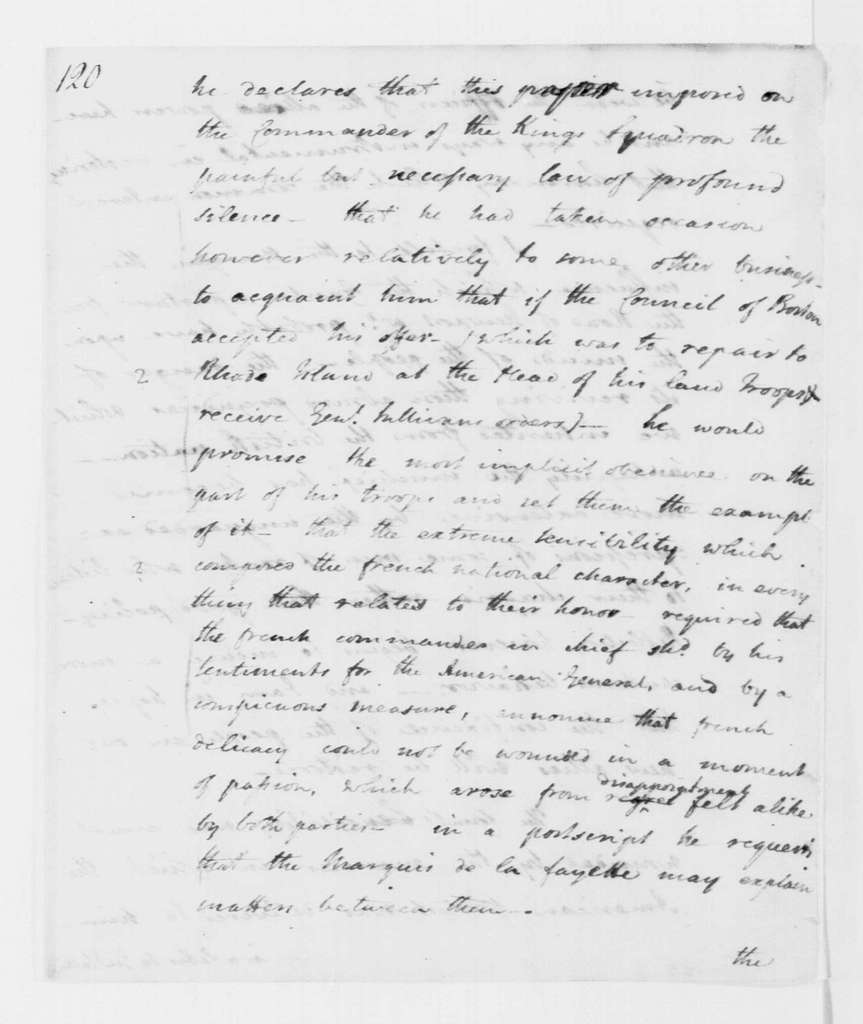 George Washington Papers, Series 4, General Correspondence: John Laurens to George Washington, September 2, 1778