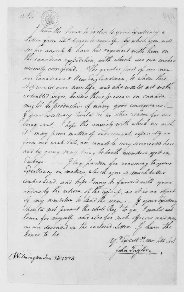 George Washington Papers, Series 4, General Correspondence: John Taylor to George Washington, January 26, 1778