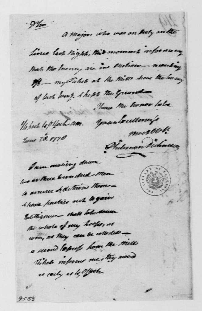 George Washington Papers, Series 4, General Correspondence: Philemon Dickinson to George Washington, June 28, 1778