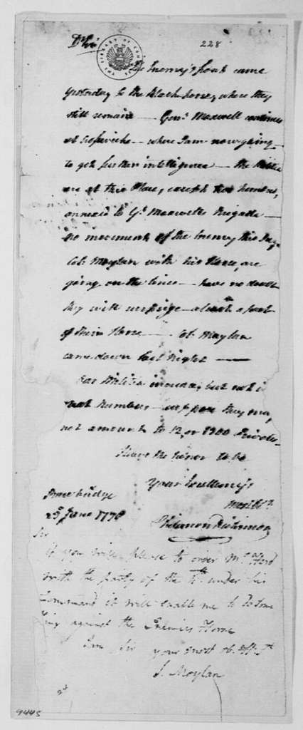 George Washington Papers, Series 4, General Correspondence: Philemon Dickinson to George Washington, June 23, 1778, four same date; with Note by Stephen Moylan