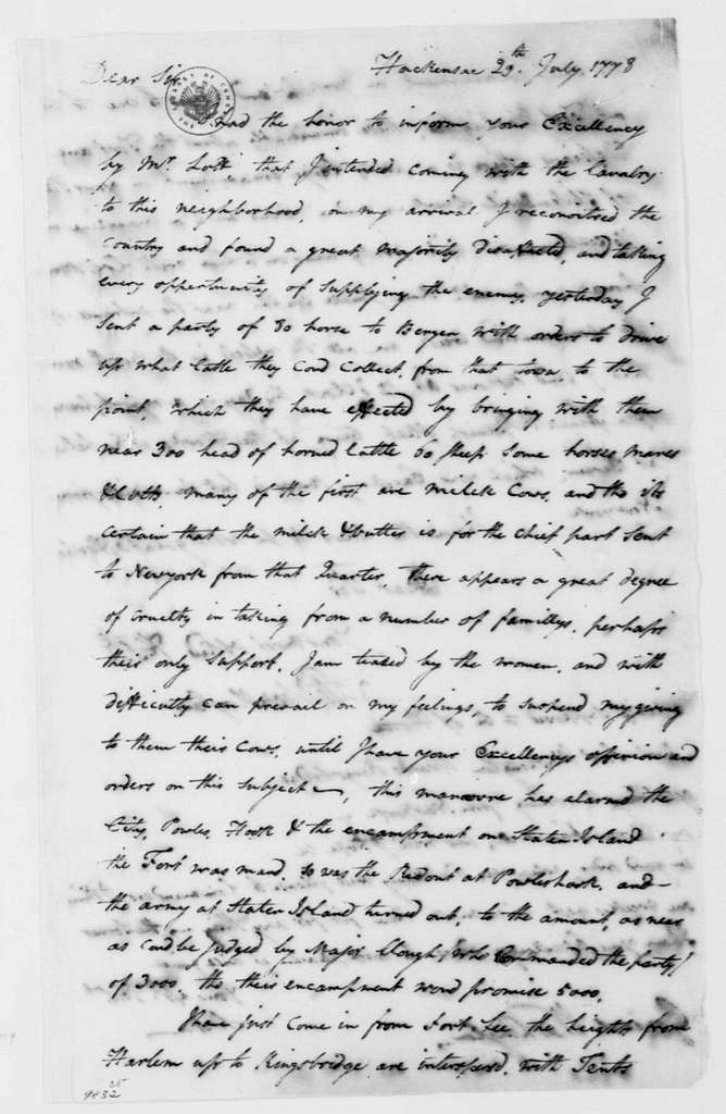 George Washington Papers, Series 4, General Correspondence: Stephen Moylan to George Washington, July 29, 1778