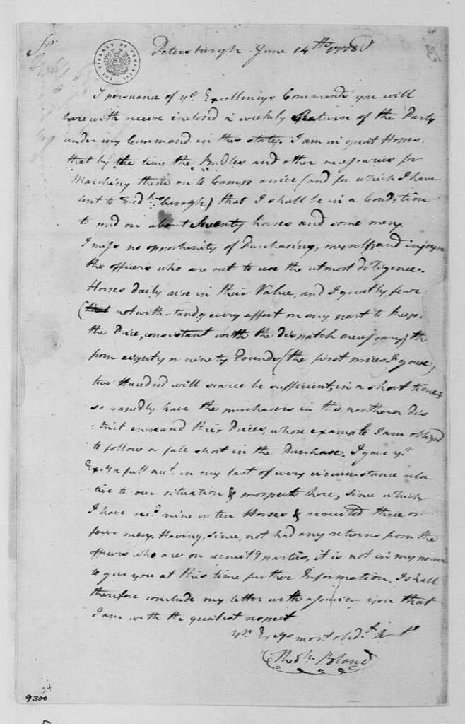 George Washington Papers, Series 4, General Correspondence: Theodorick Bland to George Washington, June 14, 1778, with Reports on Troop Strength