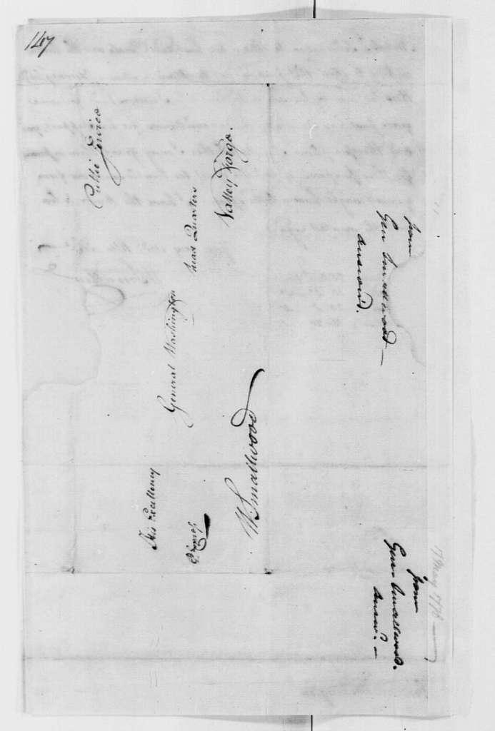 George Washington Papers, Series 4, General Correspondence: William Smallwood to George Washington, May 17, 1778