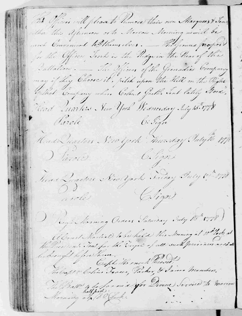 George Washington Papers, Series 6, Military Papers, 1755-1798, Subseries 6B, Captured British Orderly Books, 1777-1778: Captured British Army Orderly Book, January 29-August 9, 1778