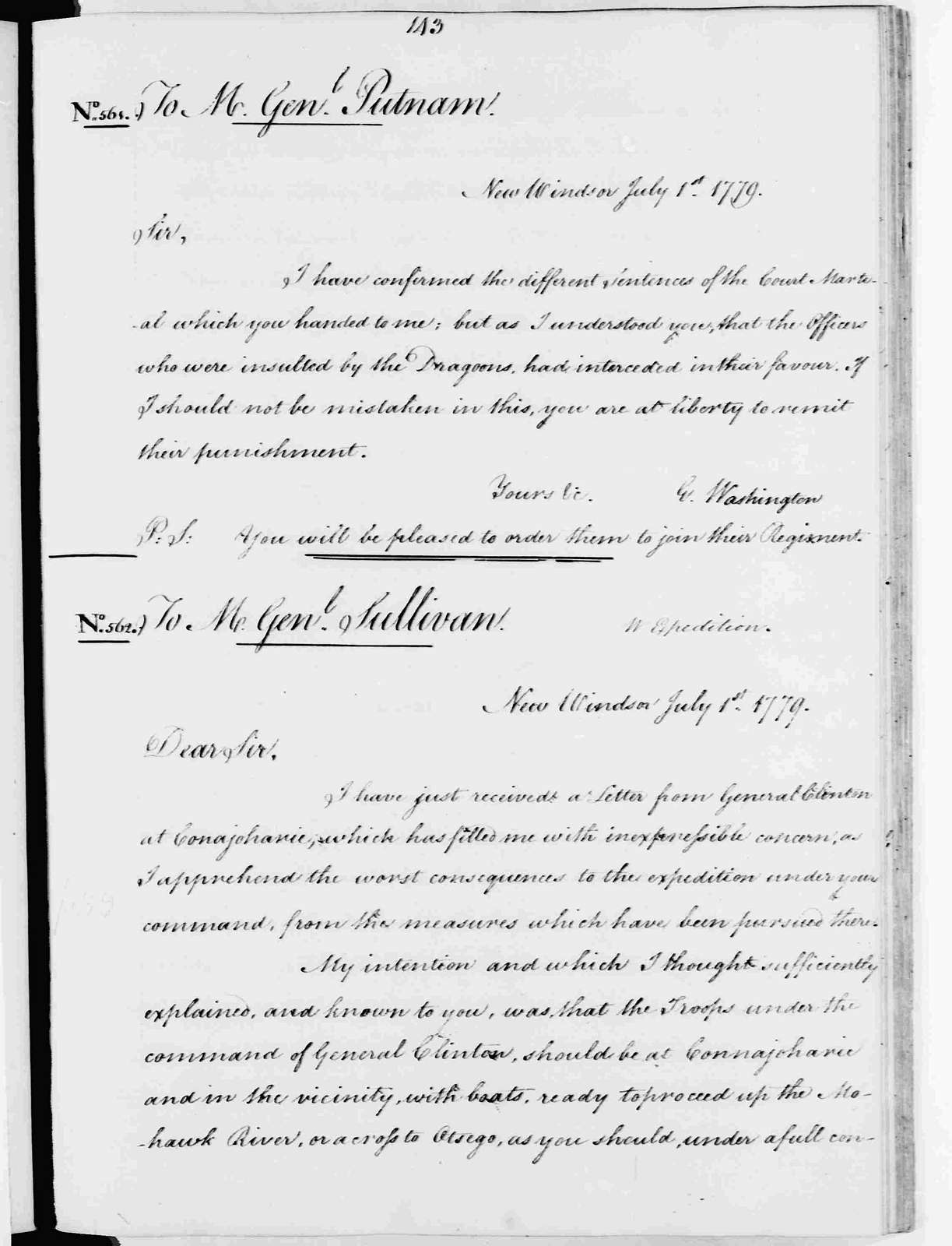 George Washington Papers, Series 3, Varick Transcripts, 1775-1785, Subseries 3B, Continental and State Military Personnel, 1775-1783, Letterbook 9: May 25, 1779 - Sept. 9, 1779