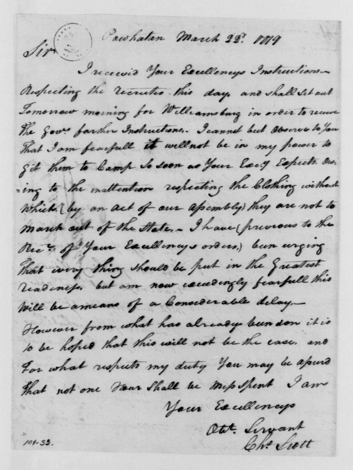 George Washington Papers, Series 4, General Correspondence: Charles Scott to George Washington, March 22, 1779