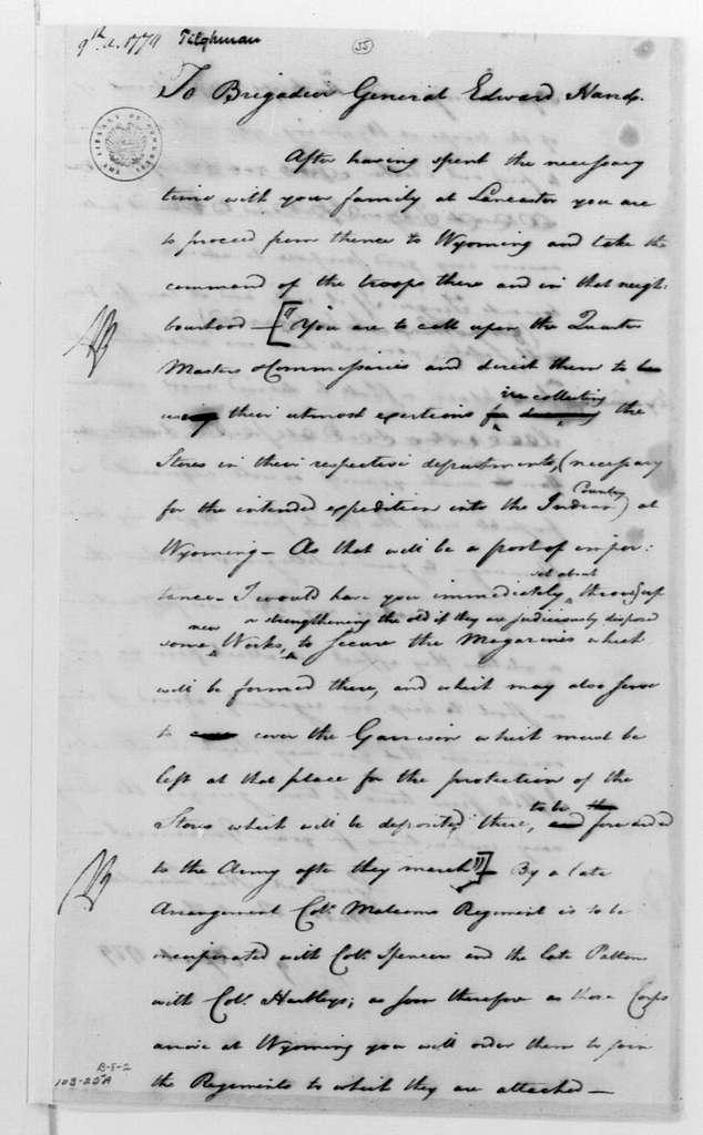 George Washington Papers, Series 4, General Correspondence: George Washington to Edward Hand, April 9, 1779