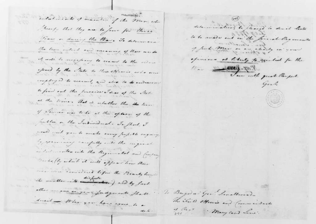 George Washington Papers, Series 4, General Correspondence: George Washington to William Smallwood and the Field Officers of the Maryland Line, February 16, 1779