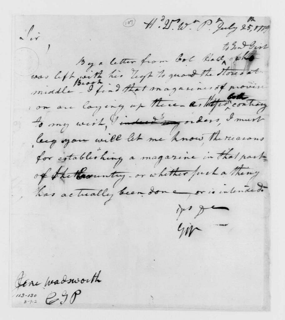 George Washington Papers, Series 4, General Correspondence: George Washington to Jeremiah Wadsworth, July 25, 1779