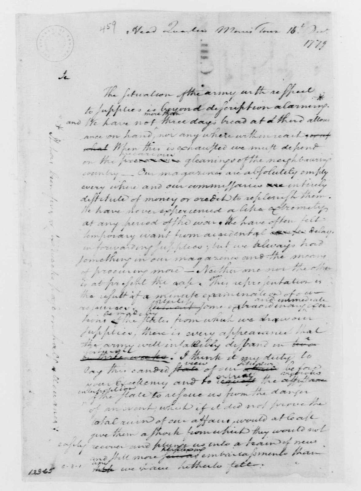 George Washington Papers, Series 4, General Correspondence: George Washington, December 16, 1779, Circular to States Regarding Supplies