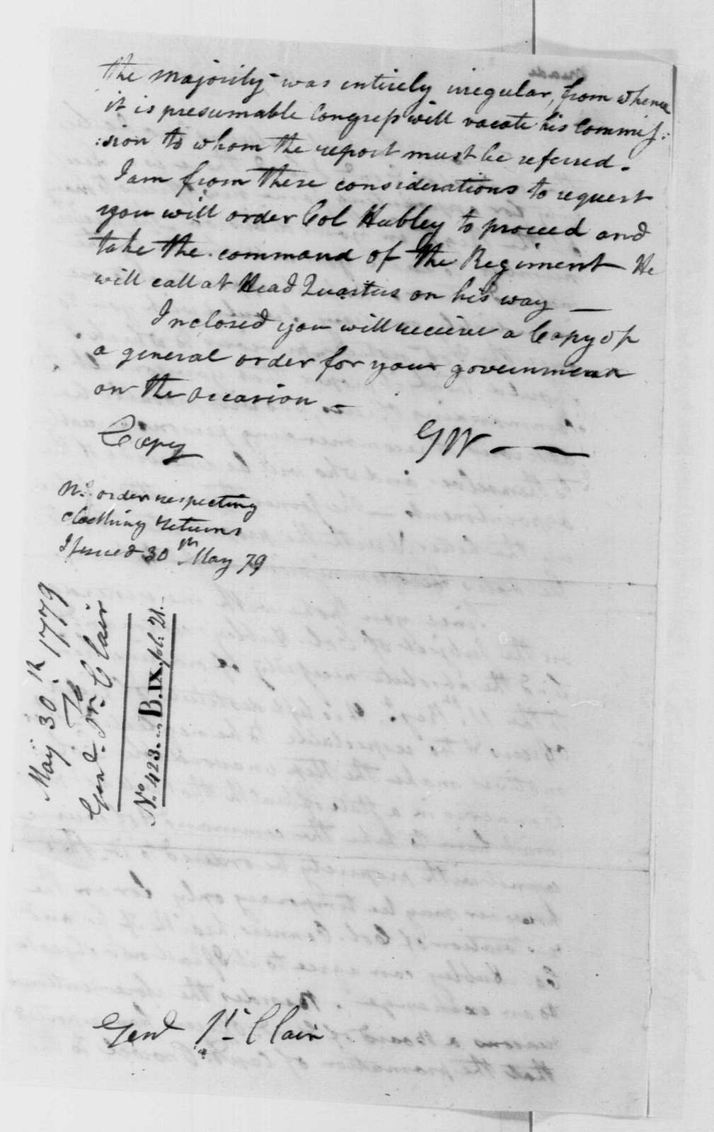 George Washington Papers, Series 4, General Correspondence: George Washington to Arthur St. Clair, May 30, 1779