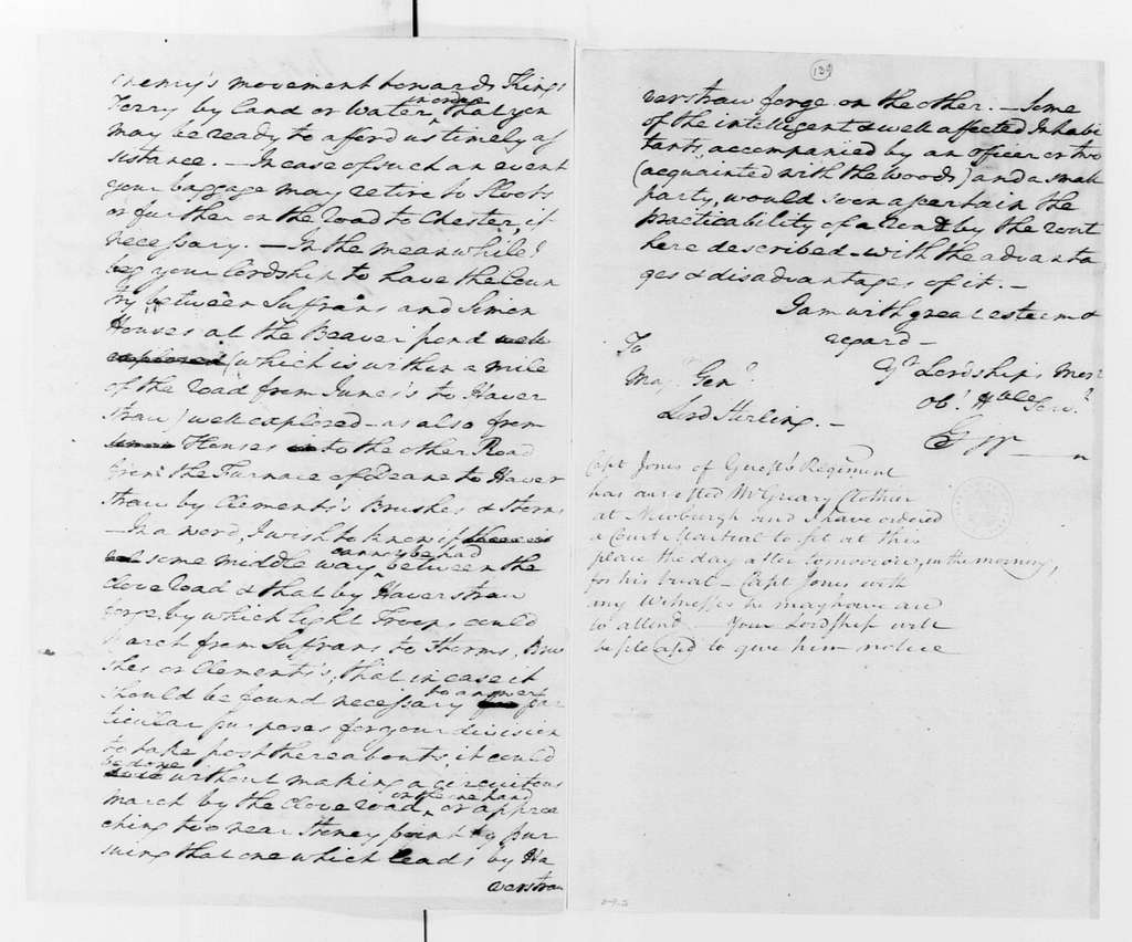 George Washington Papers, Series 4, General Correspondence: George Washington to William Alexander, Lord Stirling, July 28, 1779