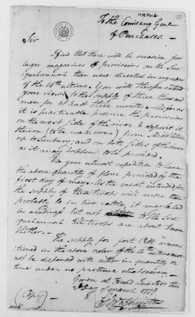 George Washington Papers, Series 4, General Correspondence: George Washington to Jeremiah Wadsworth, March 2, 1779, with Copy