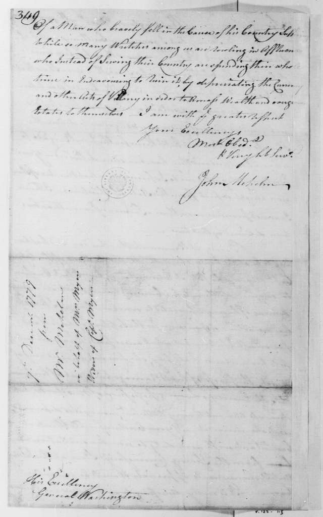 George Washington Papers, Series 4, General Correspondence: John Mehelm to George Washington, December 7, 1779