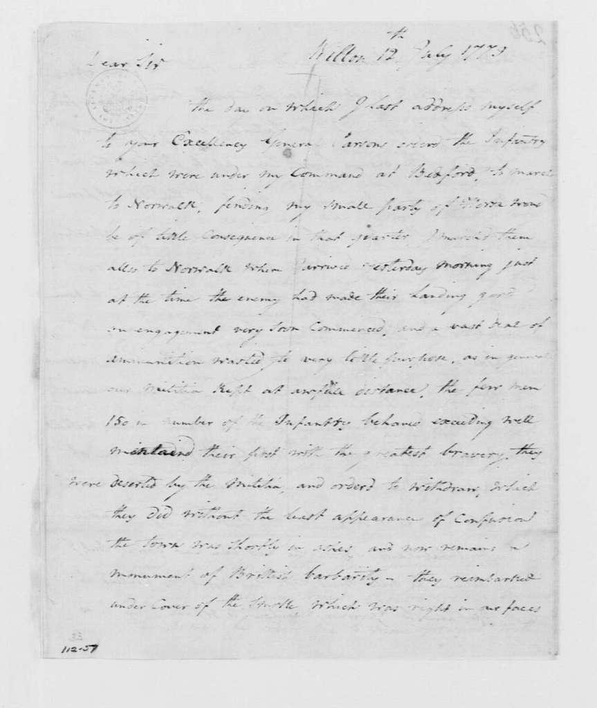 George Washington Papers, Series 4, General Correspondence: Stephen Moylan to George Washington, July 12, 1779