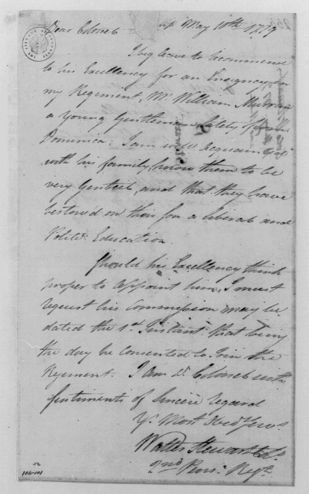 George Washington Papers, Series 4, General Correspondence: Walter Stewart to Robert H. Harrison, May 10, 1779