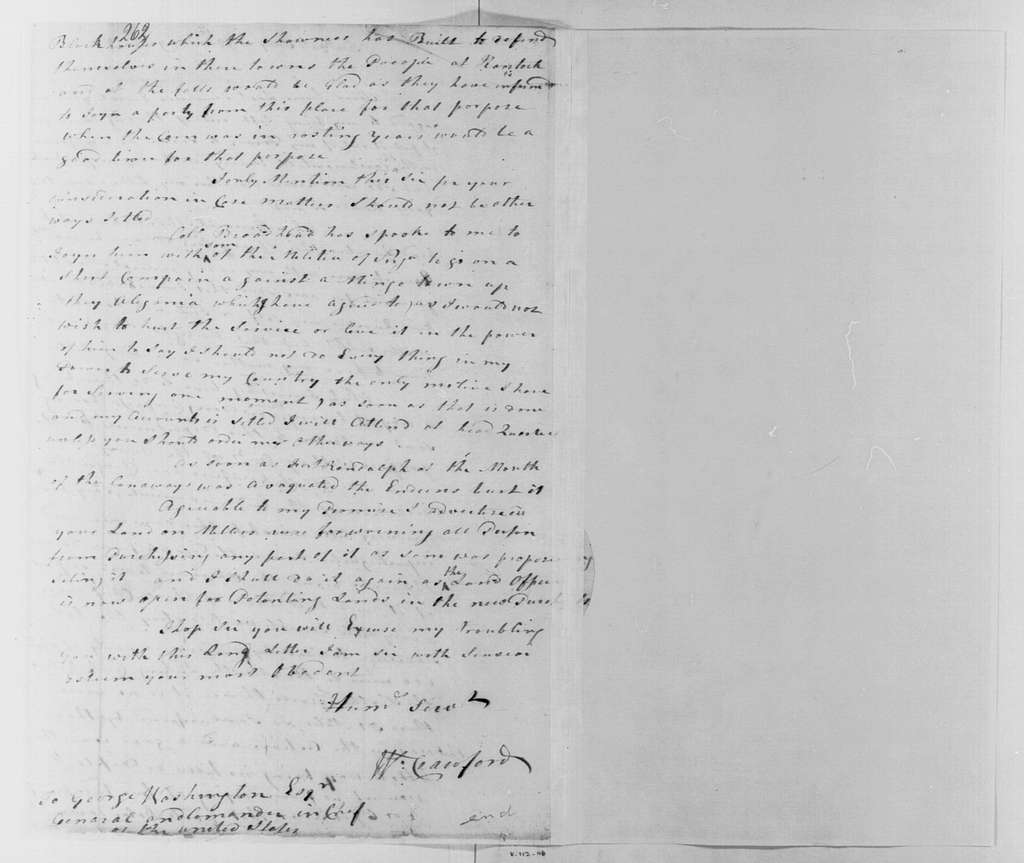 George Washington Papers, Series 4, General Correspondence: William Crawford to George Washington, July 12, 1779