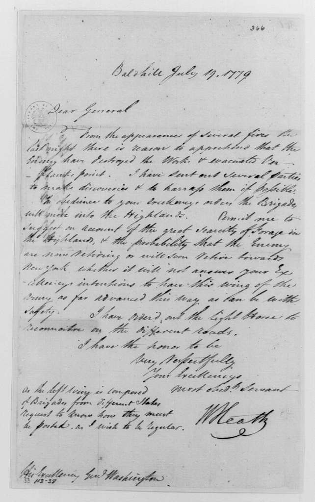 George Washington Papers, Series 4, General Correspondence: William Heath to George Washington, July 19, 1779, Three of Same Date