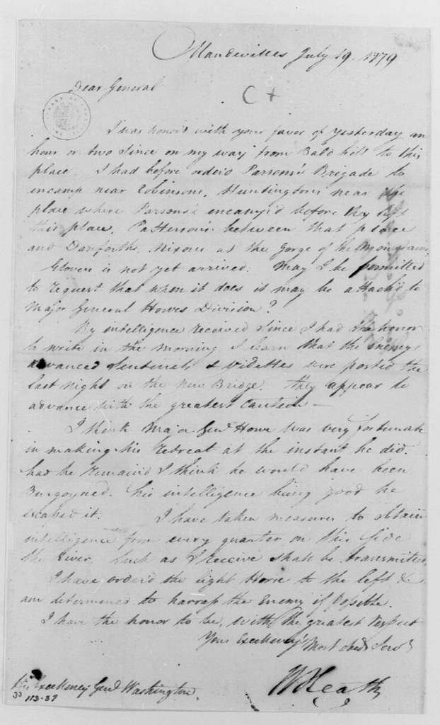 George Washington Papers, Series 4, General Correspondence: William Heath to George Washington, July 19, 1779, Three of Same Date
