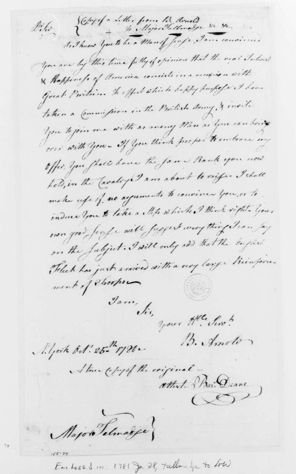 George Washington Papers, Series 4, General Correspondence: Benedict Arnold to Benjamin Tallmadge, October 25, 1780