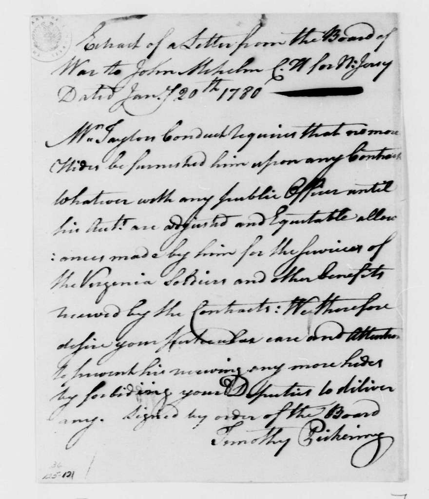 George Washington Papers, Series 4, General Correspondence: Continental Congress War Board to John Mehelm, January 20, 1780, Extract