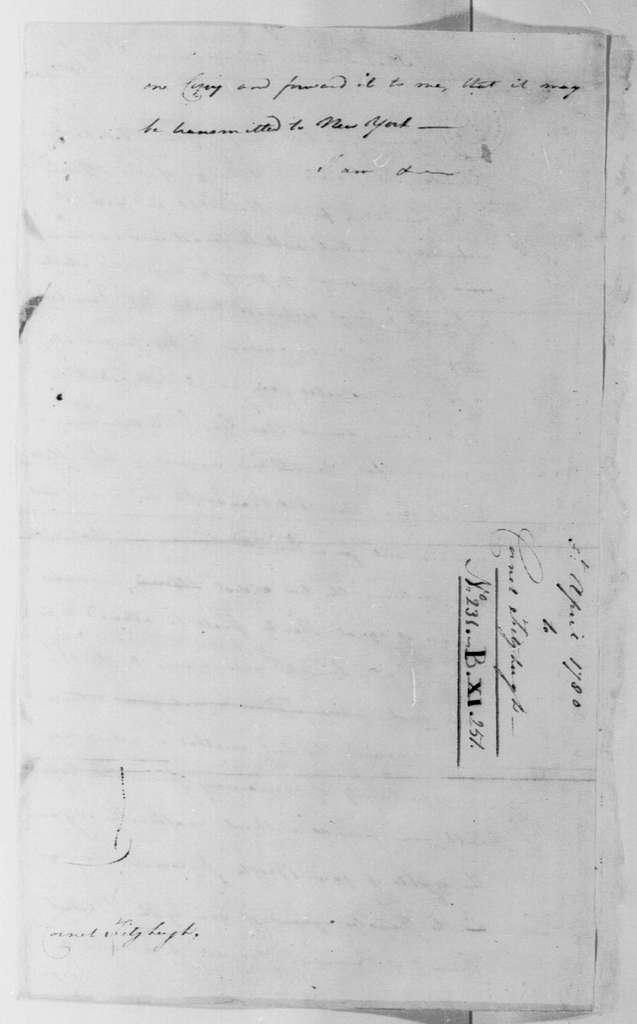 George Washington Papers, Series 4, General Correspondence: George Washington to Peregrine Fitzhugh, April 5, 1780