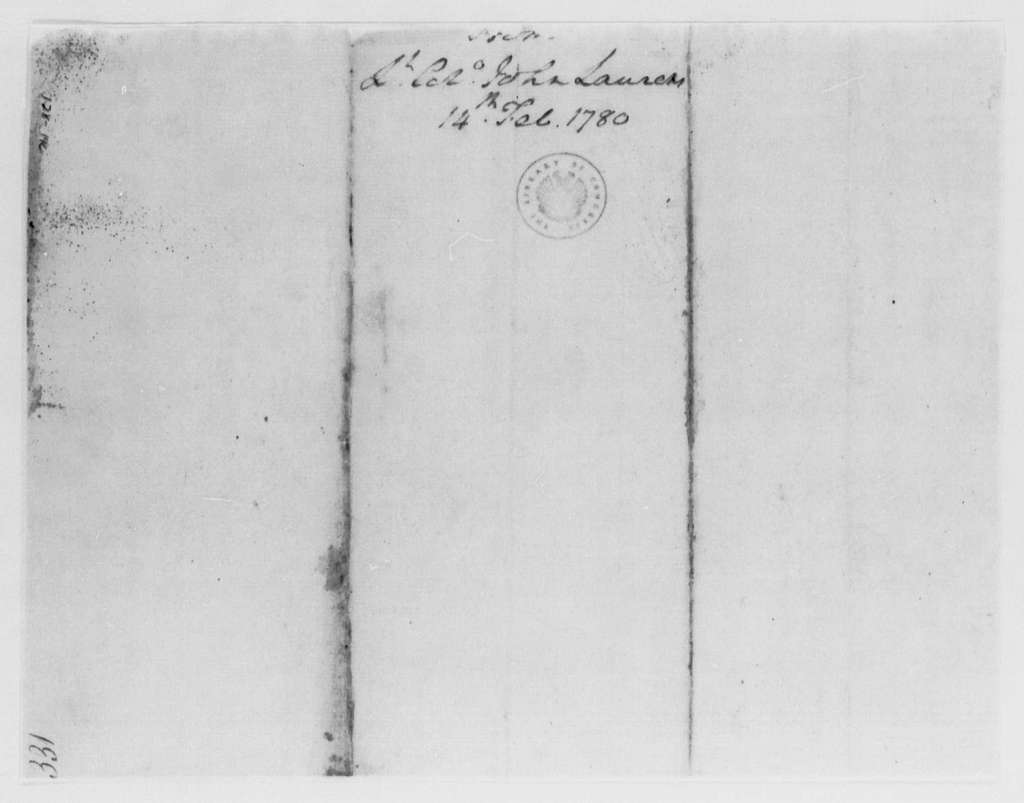 George Washington Papers, Series 4, General Correspondence: John Laurens to George Washington, February 14, 1780