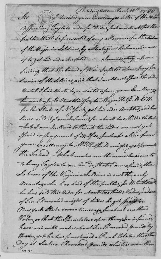George Washington Papers, Series 4, General Correspondence: John Mehelm to George Washington, March 28, 1780