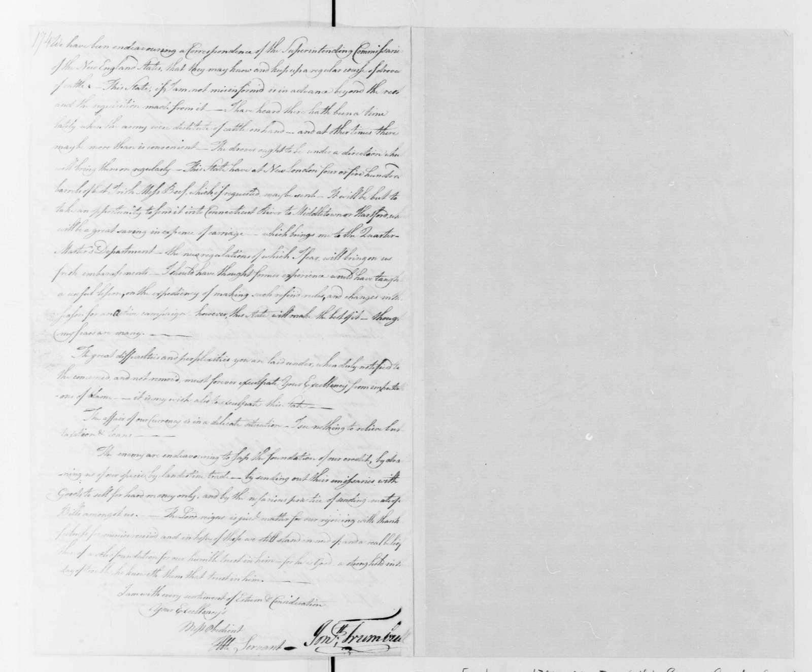 George Washington Papers, Series 4, General Correspondence: Jonathan Trumbull to George Washington, August 31, 1780