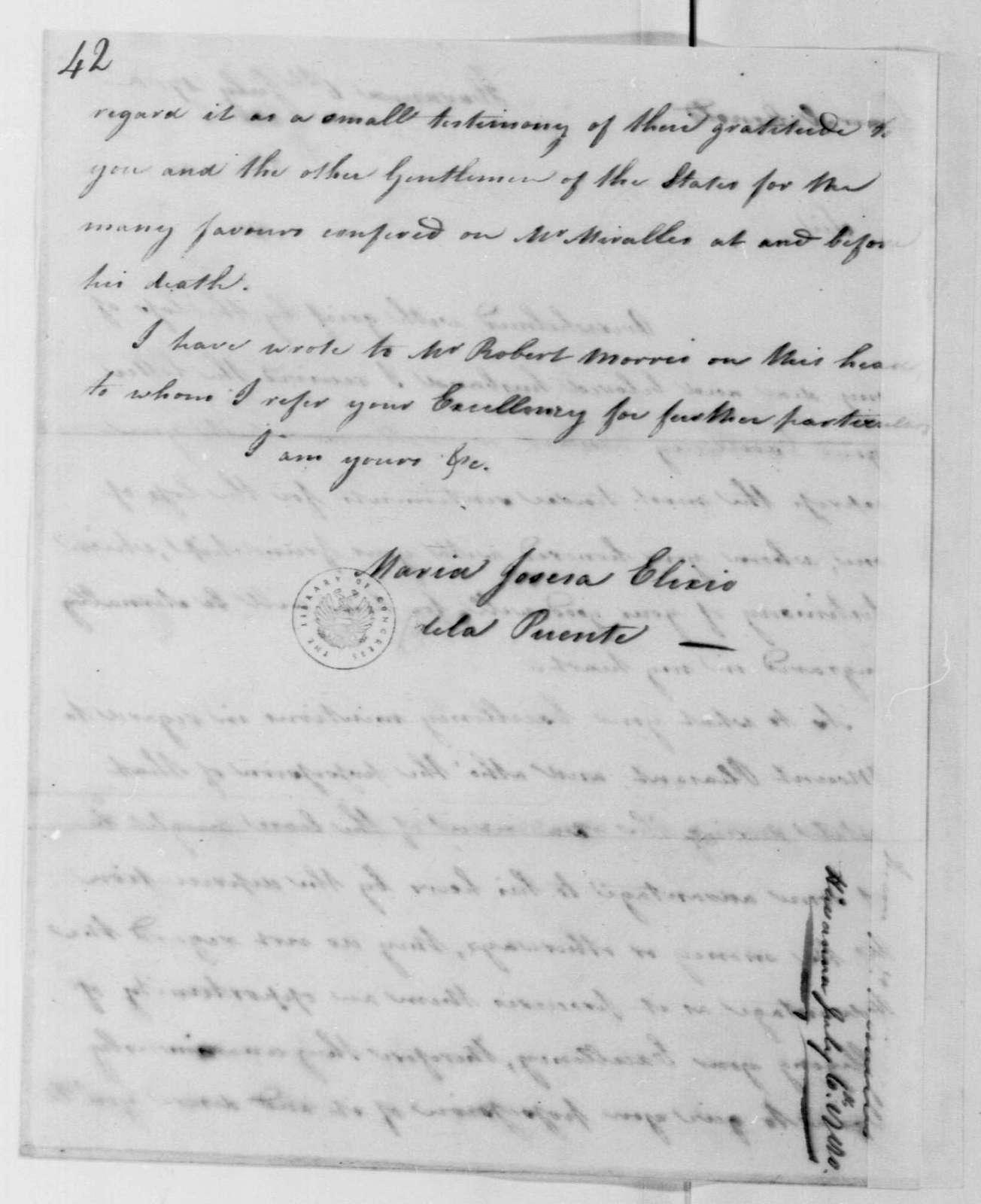 George Washington Papers, Series 4, General Correspondence: Maria Josefa Elirio de La Puente to Benedict Arnold, July 6, 1780