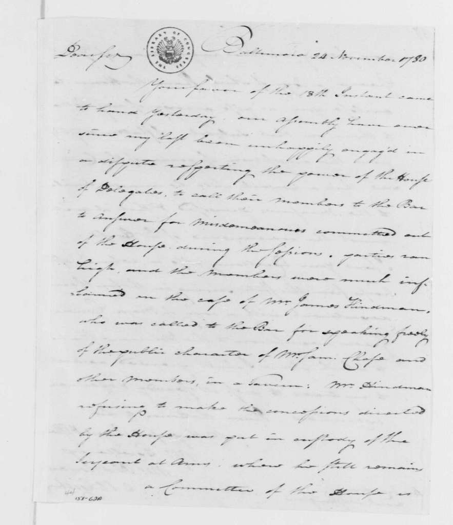 George Washington Papers, Series 4, General Correspondence: Mordecai Gist to George Washington, November 24, 1780